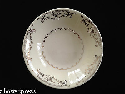 Paden City Pottery PCP212 DESSERT FRUIT BOWL Gold Floral Scrolls, Squiggly Verge