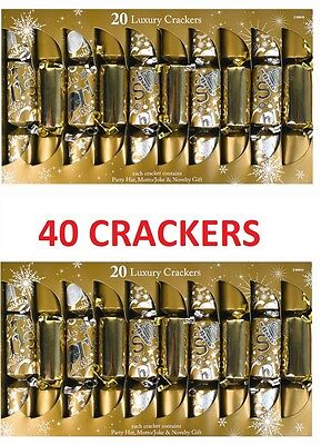 40 Gold Luxury Christmas Crackers Family Xmas Party Cracker Presents Gifts