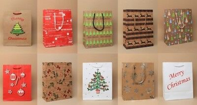 Pack Of 12 Christmas Gift Bags, Packaging, Wrapping, Present, Wholesale