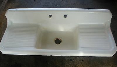 Original Farm House Sink Double Drain Board Cast Iron Porcelain Sink
