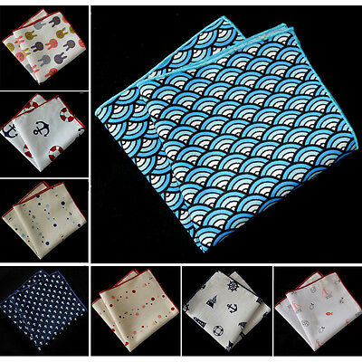 Men Fashion Cotton Sailing Anchor Sailboat Handkerchief Hanky Pocket Square NEW