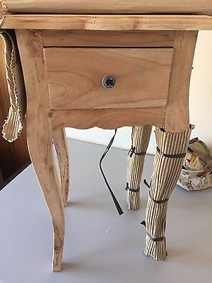 Unfinished Wood Telephone Table Drawer Bedside Cabinet Plant Table Furniture NEW