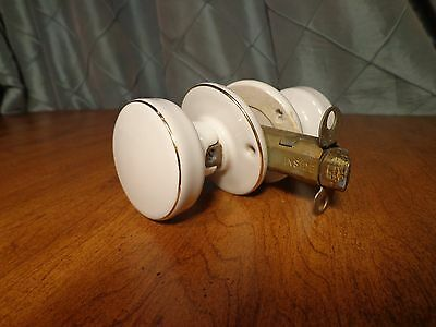 Vintage Ivory Porcelain with Gold Trim Door Knobs