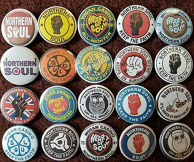 Northern Soul Wigan Casino Button Badges x 20. Pins. Job lot. Collector. Bargain