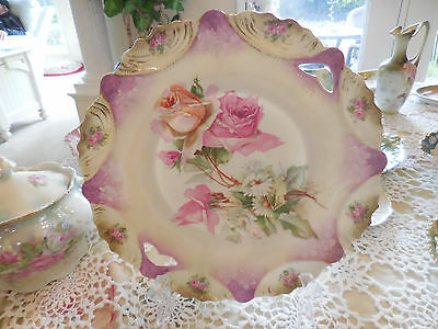 Stunning RS PRUSSIA Prettiest Pink roses & daisies porcelain handled plate