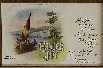 """ANTIQUE 1910's EASTER POSTCARD """"Tiberias and Sea Of Galilee"""" Posted"""