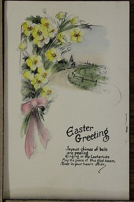 """ANTIQUE 1910's EASTER POSTCARD """"Bundle Of Flowers & Path To Church"""" Unposted"""