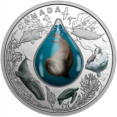 CANADIAN UNDERWATER LIFE -3D WATER DROPLET - 2017 $20 1 oz Fine Silver Coin RCM