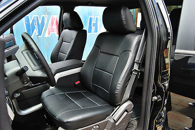 Ford F-150 2009-2013 Black Iggee S.leather Custom Fit Front Seat Covers Tg