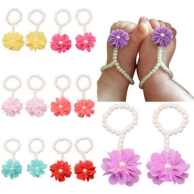 Newborn Toddler Girl Kids Baby Pearl Foot Flower Sandals Footwear Accessories
