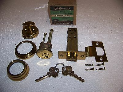 Vintage Modern Holly Made No. 3 Polished Brass Cylinder Night Latch USA made NOS