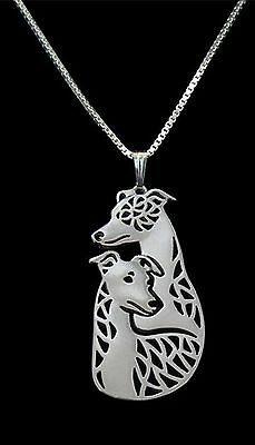 Whippet Couple Dog Pendant Necklace -  Fashion Jewellery - Silver Plated