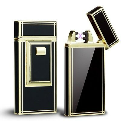 Metal Electric USB Dual Arc Pulse Cigar Lighter Rechargeable Windproof Flameless