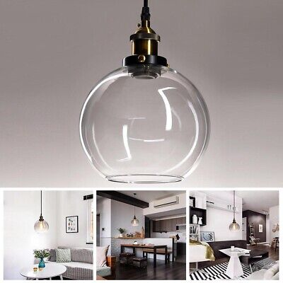 Vintage Glass Ceiling Pendant Chandelier Light Industrial Round Ball Shade Lamp