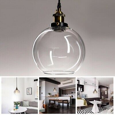 Vintage Industrial Glass Ceiling Pendant Chandelier Light Round Ball Shade Lamp