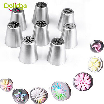8PC Russian DIY Pastry Cake Icing Piping Decorating Nozzles Tips Baking Tool