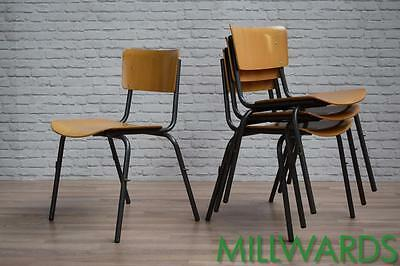 Vintage Industrial Stacking School Cafe Bar Chairs (inc VAT) 30 AVAILABLE