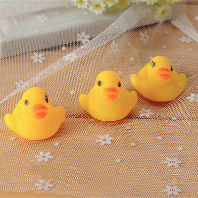 10pcs Baby Bathing Bath Tub Toys Mini Rubber Squeaky Float Duck Yellow NEW ZX