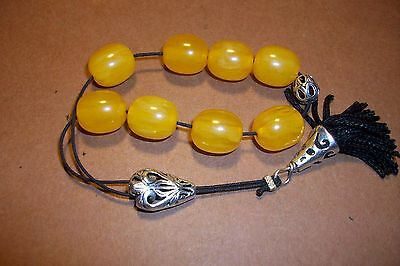 Vtg Amber Bakelite Catalin Prayer Worry Beads Komboloi Simichrome Tested15.2 Gr