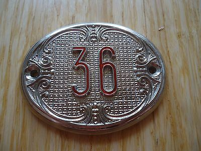 Old Vintage Door House number 36 Tin Sign Plate NOS!