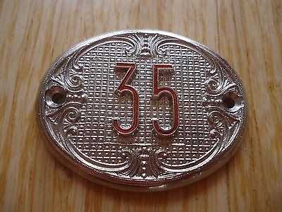 Old Vintage Door House number 35 Tin Sign Plate NOS!