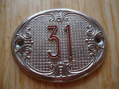 Old Vintage Door House number 31 Tin Sign Plate NOS!
