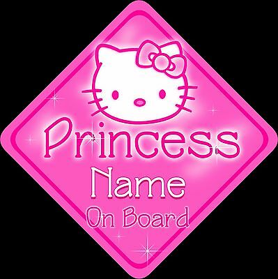 Personalised Baby On Board Car sign ~ Hello Kitty Princess ~ Pink
