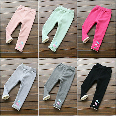 NEW Sale Kids Baby Girls Winter Warm Thick Leggings Fleece Lined Pants 2-7years