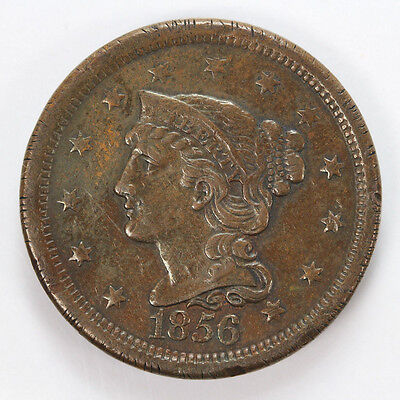 1856 P Large Cent Braided Hair Upright 5 - VF #01310775g