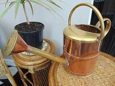 Vintage French Copper & Brass Indoor 5 Pint Watering Can With Rose