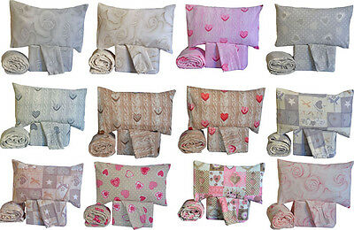 Completo lenzuola in pile matrimoniale due piazze shabby mordido