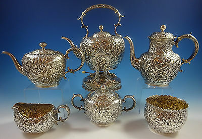 Repousse by Whiting Sterling Silver Tea Set 6pc #2880A (#1302)