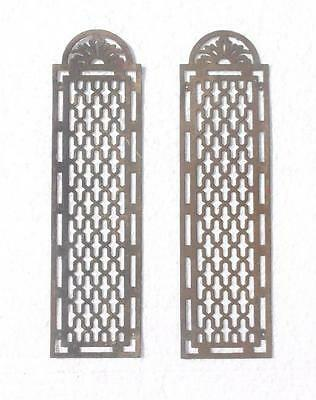 Pair Vintage French Pierced Brass Door Finger Plates #MM5