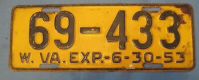 1953 West Virginia License Plate
