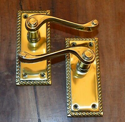 Solid Polished Brass Georgian Scroll Door Handles Without Keyhole (FG2)