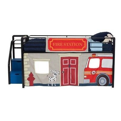 NEW Kids Twin Junior Loft Bed Curtain Fire Truck Station Fireman Play Area Boys
