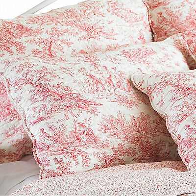 French Toile Luxury Pillow Sham - Vintage Floral 100% Cotton Red Pillow Cover