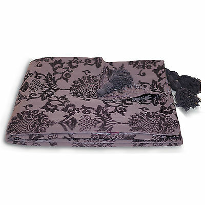 Damask Chenille Jacquard Throw Purple Bed Blanket Single Sofa Throw 135 x 180 cm