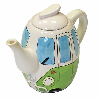 Hand Painted Ceramic Teapot with Campervan Design in Green - Gift Box Included