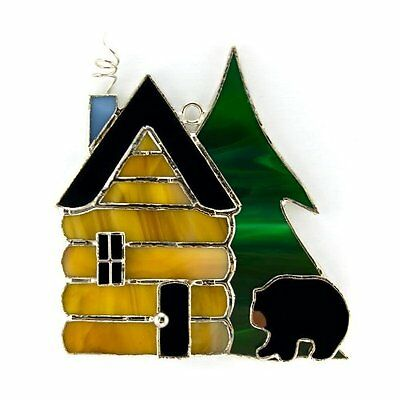 SWITCHABLES Stained Glass Night Light Cover, BLACK BEAR LOG CABIN, New In Box