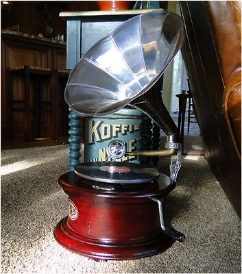Victorian Gramaphone or Gramophone w Silver Horn Record Player 78RPM
