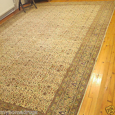 Intricate Floral Cr1900-1939s Antique 9x12ft Wool Pile Gold Dyes  Hereke Rug