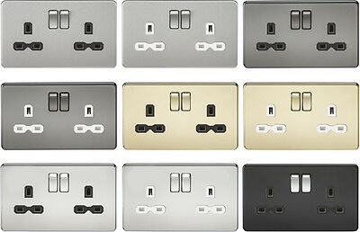 Knightsbridge 230V Screwless Double 13A Switched Plug Socket 2 Gang Double Pole