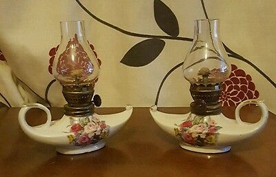 Pair of Small Ceramic Oil Lamp With Floral Design        (bsb3)