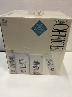 New Sealed Vintage Microsoft Office Dos-Windows Word-Excel-Mail-Powerpoint 1993