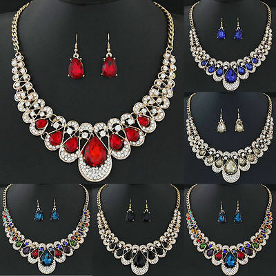 Fashion Womens Gold Plated Chain Necklace Hook Earrings Crystal Jewelry Set New
