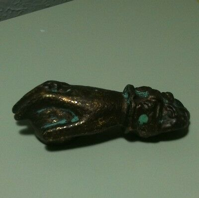 Victorian Cast Iron Right Hand W/Ring Door Knocker Part Aged Gold Green Patina