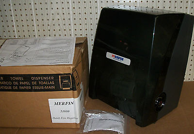 MERFIN Paper Towel HANDS FREE Dispenser 51080 NO TOUCH Commercial BLACK USA New