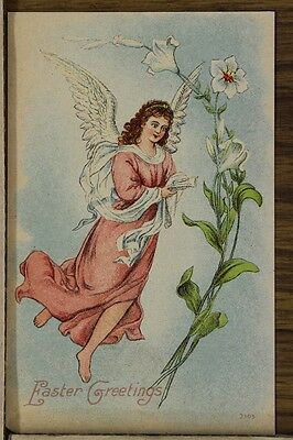 "ANTIQUE 1910's EASTER POSTCARD ""Angel Flying With Bible"" Unposted"