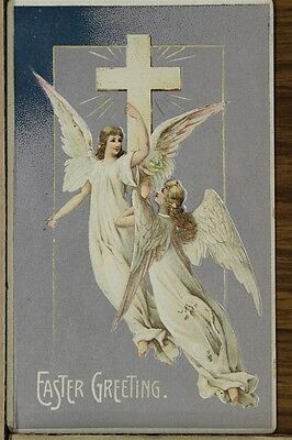 """ANTIQUE 1910's EASTER POSTCARD """"Angels Flying With Holy Cross"""" Unposted"""